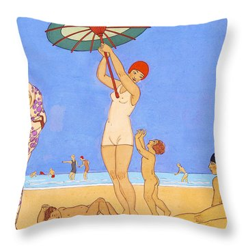 A Day At The Beach, 1923 Throw Pillow