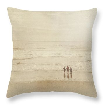 A Day At The Beach Throw Pillow by Heidi Hermes