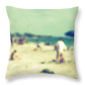 Throw Pillow featuring the photograph a day at the beach I by Hannes Cmarits
