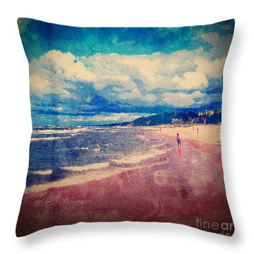 Throw Pillow featuring the photograph A Day At The Beach by Phil Perkins