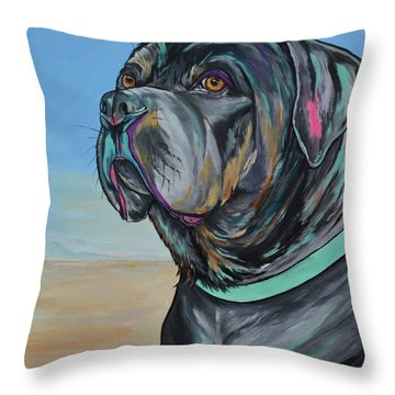 A Day At The Beach With Max Throw Pillow