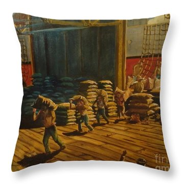 A Day At The Docks Throw Pillow by Philip Bracco