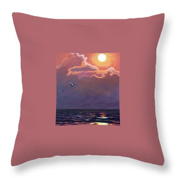 Throw Pillow featuring the painting A Day In Galveston by Suzanne Theis