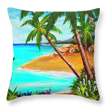 A Day In Paradise Hawaii #359 Throw Pillow by Donald k Hall