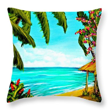 A Day In Paradise Hawaii Beach Shack  #360 Throw Pillow by Donald k Hall