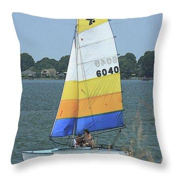 A Day To Sail Throw Pillow by Karol Livote
