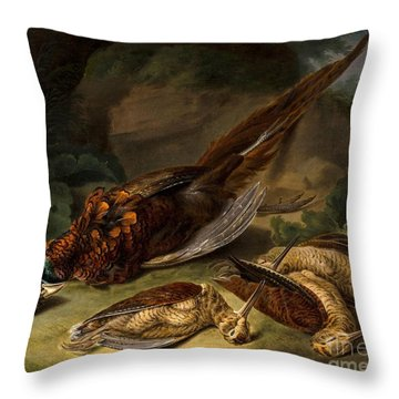 A Dead Pheasant Throw Pillow by MotionAge Designs