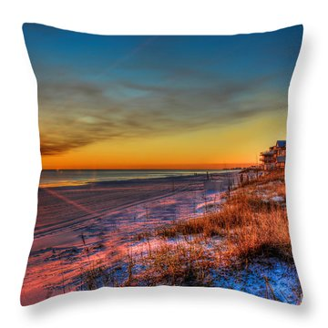 A December Beach Sunset Throw Pillow