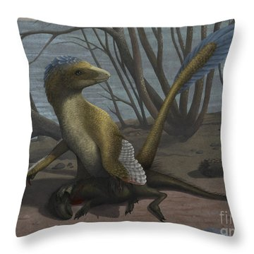 A Deinonychus Protects Its Kill Throw Pillow by Emily Willoughby