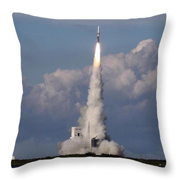 A Delta Iv Rocket Soars Into The Sky Throw Pillow