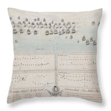 A Description Of The Naval Battle At The Island Of Oland In The Baltic Sea Throw Pillow