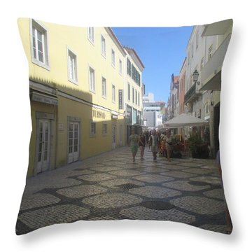 A Detail From A Street In The Historical Centre Of Cascais Near Lisbon Throw Pillow