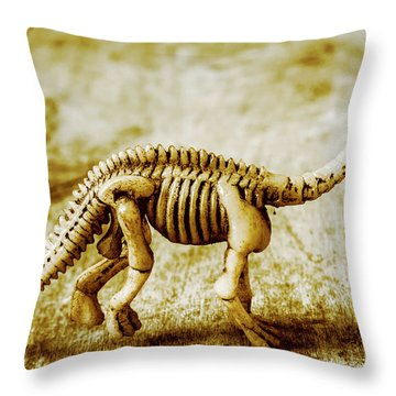 A Diploducus Bone Display Throw Pillow