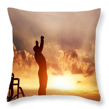 A Disabled Man Standing Up From Wheelchair Throw Pillow