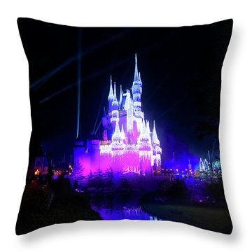 Throw Pillow featuring the photograph A Disney New Year by Mark Andrew Thomas
