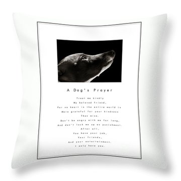 A Dog's Prayer In White  A Popular Inspirational Portrait And Poem Featuring An Italian Greyhound Throw Pillow