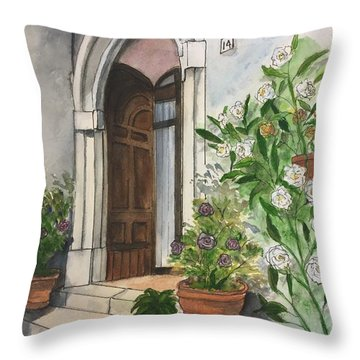 A Door In Castellucco, Italy Throw Pillow