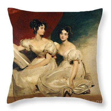 A Double Portrait Of The Fullerton Sisters Throw Pillow by Sir Thomas Lawrence