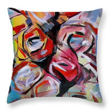Throw Pillow featuring the painting A Dozen Roses by John Jr Gholson