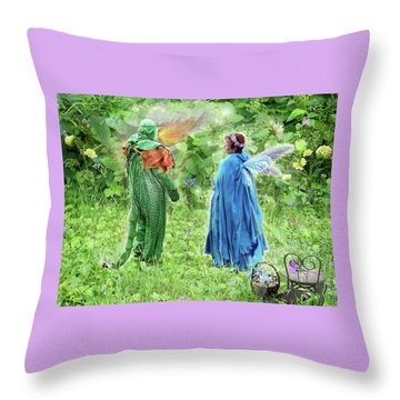 Throw Pillow featuring the digital art A Dragon Confides In A Fairy by Lise Winne