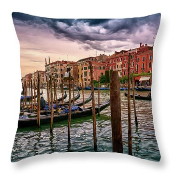 Surreal Seascape On The Grand Canal In Venice, Italy Throw Pillow