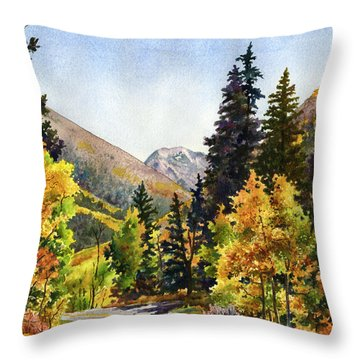 A Drive In The Mountains Throw Pillow