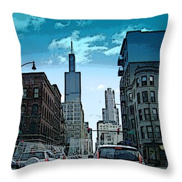 Throw Pillow featuring the photograph A Drive Through Downtown Chicago by Skyler Tipton