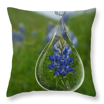A Drop Of Texas Blue Throw Pillow by ARTography by Pamela Smale Williams