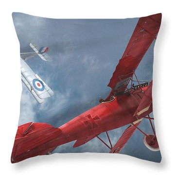 A Duel Begins - The Red Baron Throw Pillow by David Collins