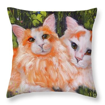 A Duet Of Kittens Throw Pillow