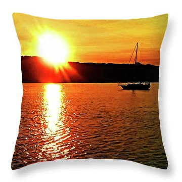 A Early Springtime Visit To Mystic Village In M Throw Pillow
