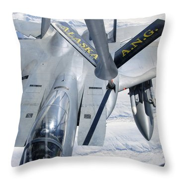 A F-15 Eagle Refuels Behind A Kc-135 Throw Pillow by Stocktrek Images