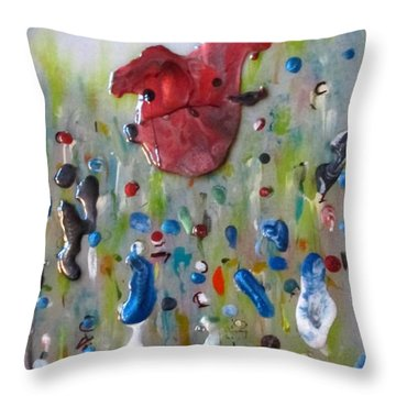 Throw Pillow featuring the painting A Face In The Crowd by Mary Kay Holladay