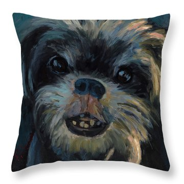 Throw Pillow featuring the painting A Face Only A Mother Could Love by Billie Colson