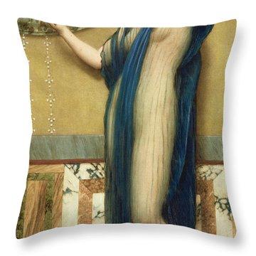 A Fair Reflection Throw Pillow by John William Godward