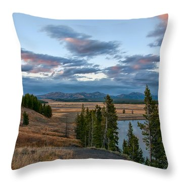 A Fall Evening In Hayden Valley Throw Pillow