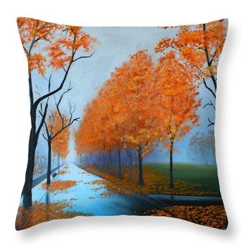 A Fall Morning Throw Pillow