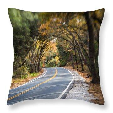 A Fall Roadway Throw Pillow