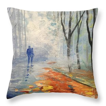 Throw Pillow featuring the painting A Fall Walk by Trilby Cole