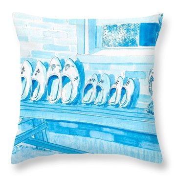 A Family Of Wooden Shoes  Throw Pillow