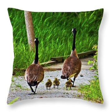 A Family Stroll Throw Pillow