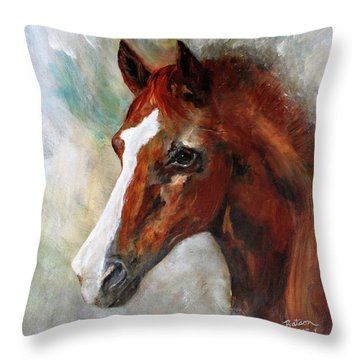 Throw Pillow featuring the painting A Family's First Horse by Barbie Batson