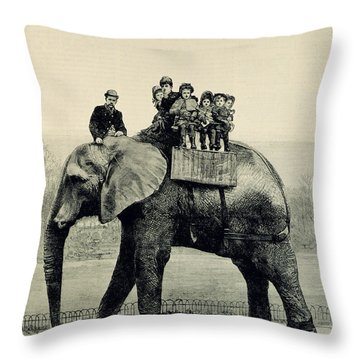 A Farewell Ride On Jumbo From The Illustrated London News Throw Pillow by English School