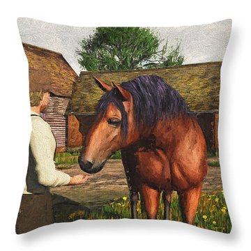 Throw Pillow featuring the digital art A Farmer And His Horse by Jayne Wilson