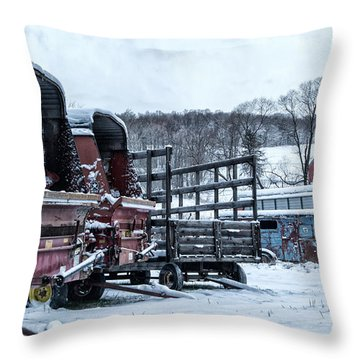 A Farmers Winter Throw Pillow