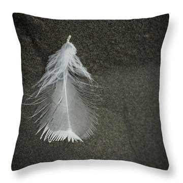 A Feather At The Edge Of The Water Throw Pillow