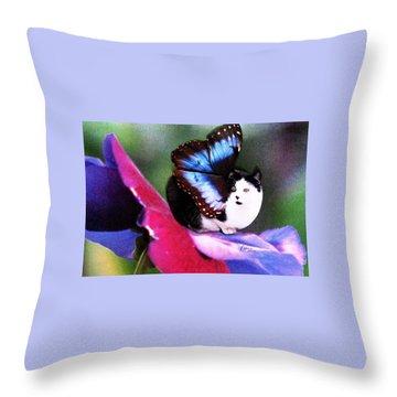 A Feline Fairy In My Garden Throw Pillow by Angela Davies