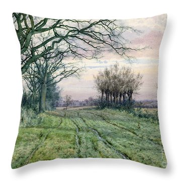 A Fenland Lane With Pollarded Willows Throw Pillow by William Fraser Garden