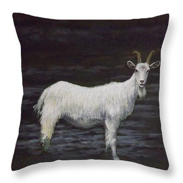 A Feral Goat On The Burren Throw Pillow by Sean Conlon