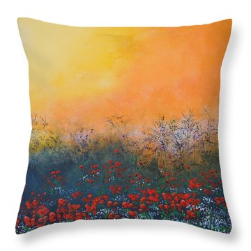 Throw Pillow featuring the painting A Field In Bloom by Dan Whittemore